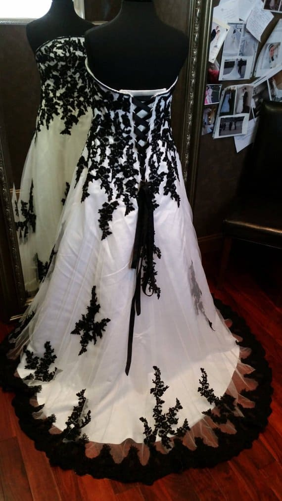 Black and White Gothic wedding dress