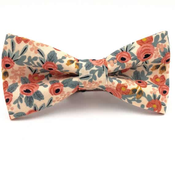Groom's Peach and Cream Floral Bowtie