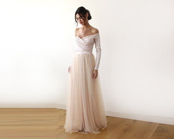 Peach Off Shoulder Wedding Dress With Pearls