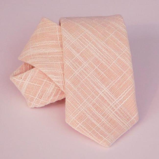 Peach burlap linen textured necktie for groom