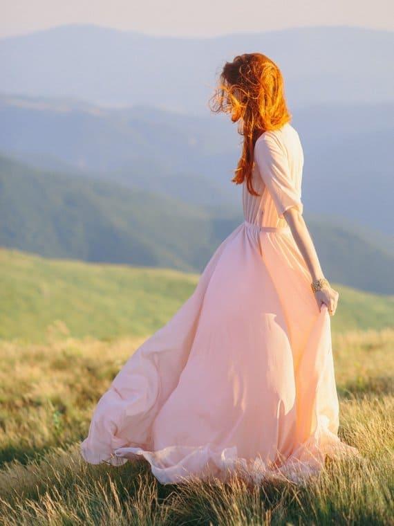 Peach wedding dress with high-neck bodice