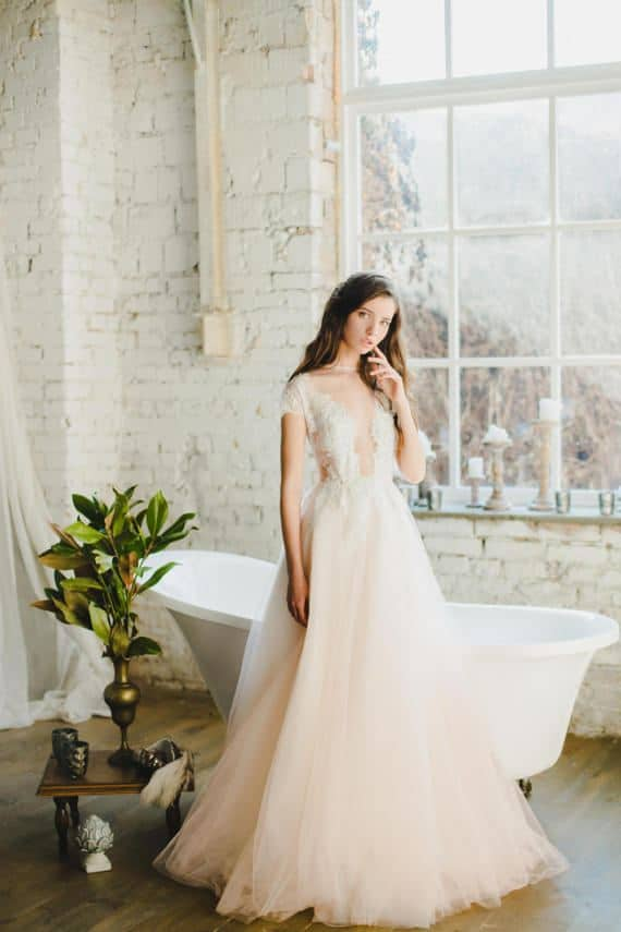 5 peach wedding dresses were blushing over romantic ball gown peach wedding dress junglespirit Choice Image