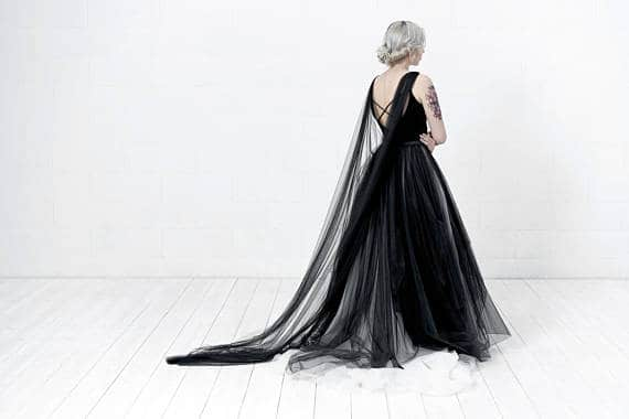 black bridal cape for a gothic bride