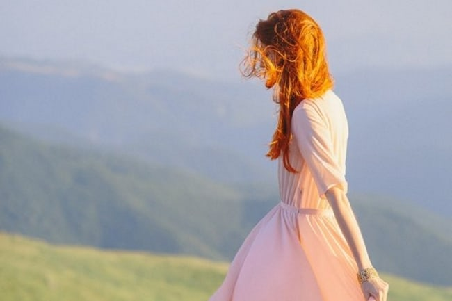 peach wedding dress