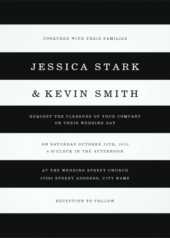 Chic Black Stripes Wedding Invitation for Halloween Theme