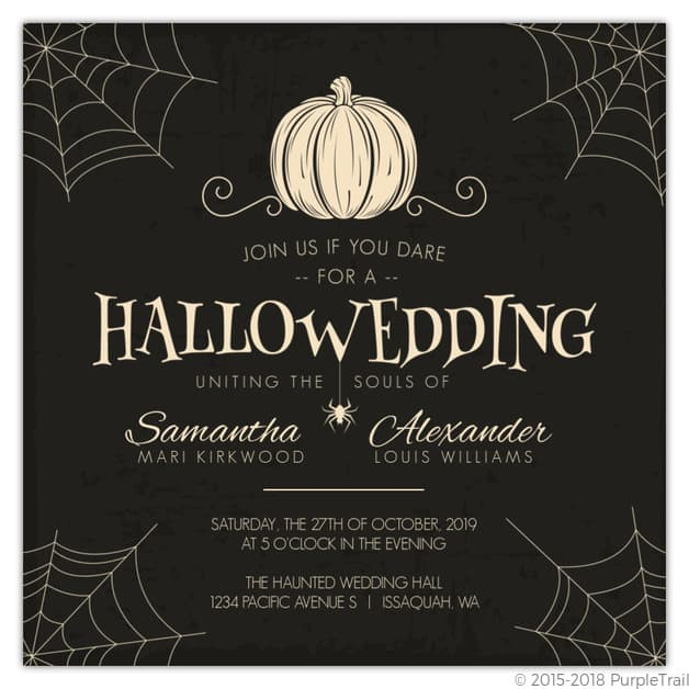 Creepy Pumpkin Halloween Wedding Invitation – Purple Trail