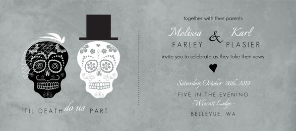 Fancy Skulls Gray Halloween Wedding Invitation