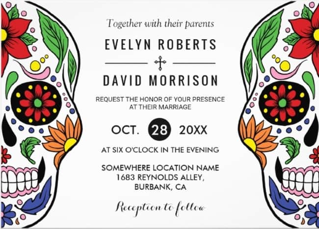 Floral Sugar Skull Wedding Invitation