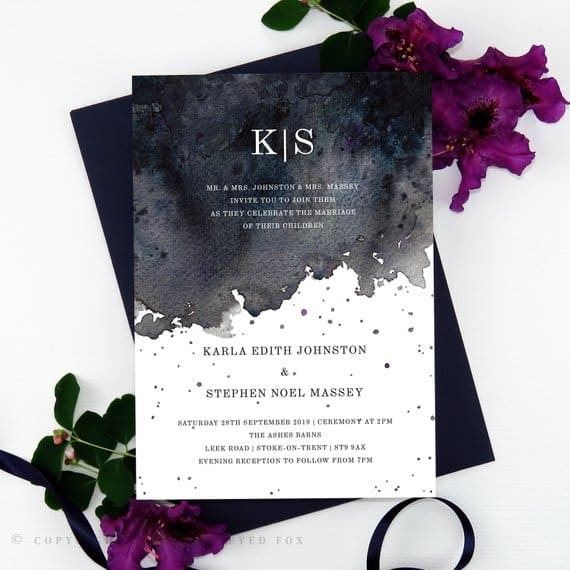 Gothic wedding invitation suite great for halloween