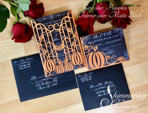 pumpkin laser cut gatefold wedding invitation