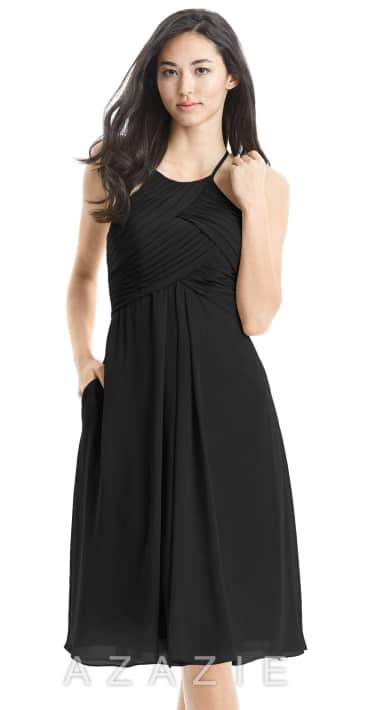 AZAZIE ADRIANA black knee length bridesmaids dress in chiffon