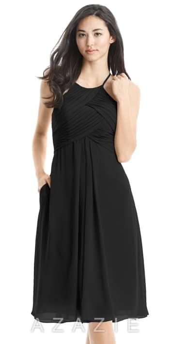 ff495379d83 AZAZIE ADRIANA black knee length bridesmaids dress in chiffon