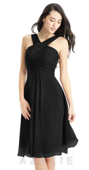 AZAZIE AMANI black chiffon bridemaids dress