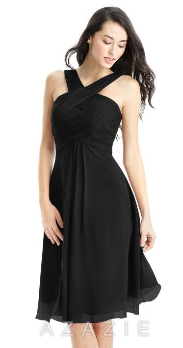AZAZIE AMANI black chiffon bridemaids dress