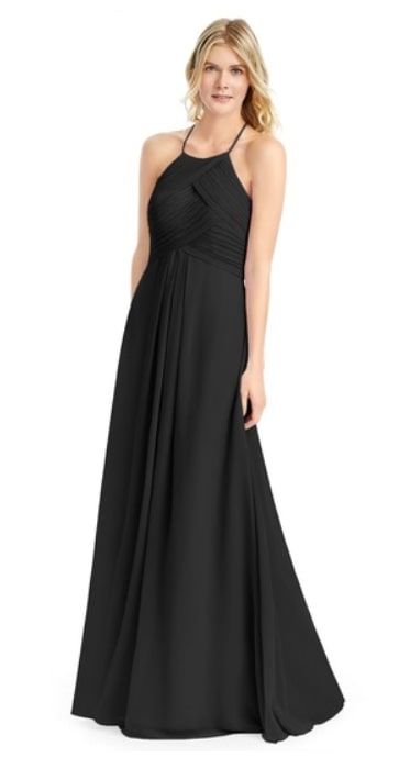 AZAZIE GINGER Black Chiffon floor length bridesmaid dress with