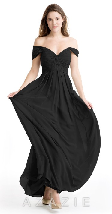 AZAZIE KAITLYNN black off the shoulder floor length gown