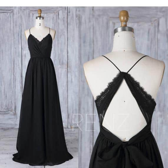 Black Floor length Chiffon Bridesmaid Dress with v neck and lace