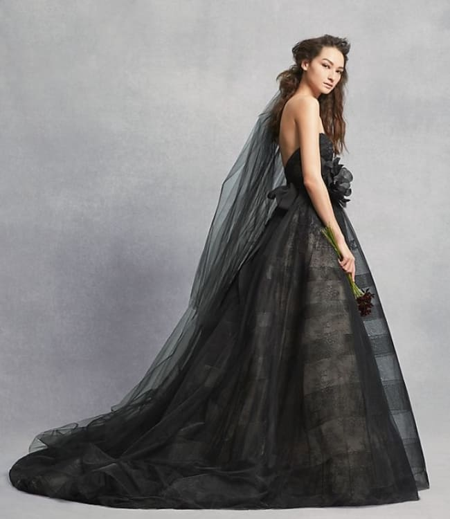 Black Lace Wedding Dress with Tiered Horsehair by vera wang