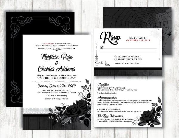 black rose invitation suite