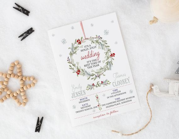 Christmas wreath wedding invitation