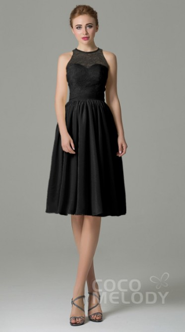 Cocomelody Knee length black bridesmaids dress with lace top half 1