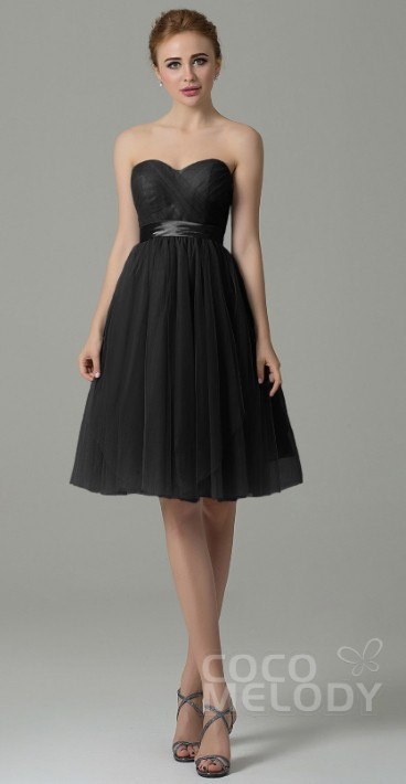 Cocomelody Knee length black bridesmaids dress
