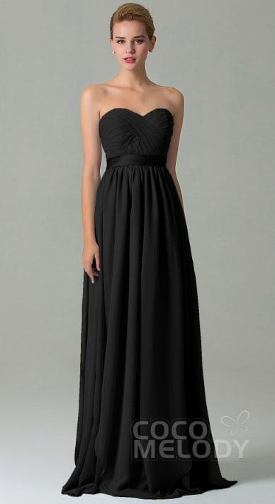 Cocomelody formal floor length black bridesmaids dresS