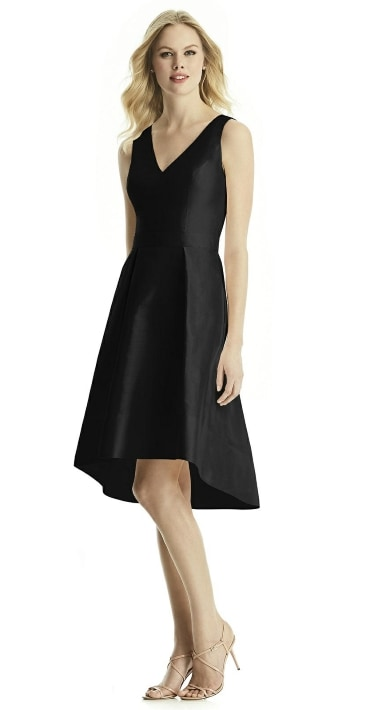 Dessy After Six black knee length waterfall silk Bridesmaid