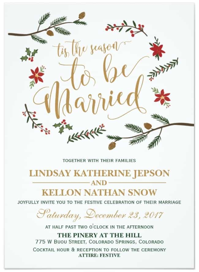 Festive Holiday Christmas Wedding Invitation by zazzle