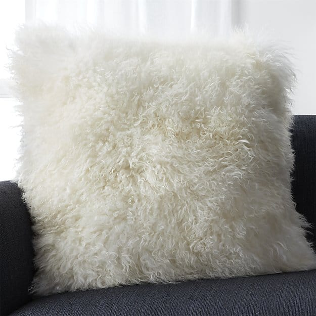 Fuzzy wool pillow for seventh anniversary gift