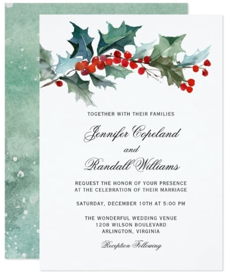 Holiday Greenery Watercolor Wedding Invitation by zazzle