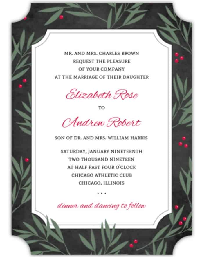 Holly berry themed wedding invitation