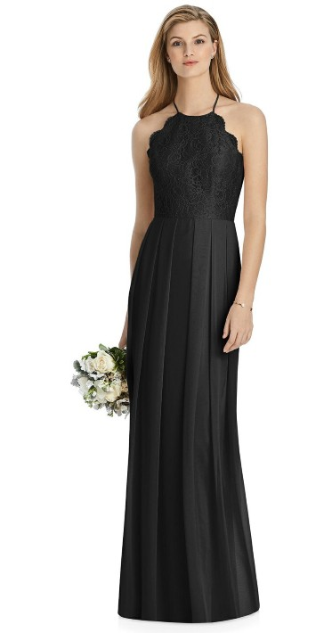 dba6d9ec9bd Lela Rose black Bridesmaid Dress with Marquis lace halter bodice