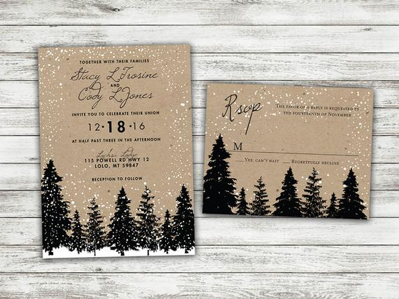 Rustic woods winter wedding invitations
