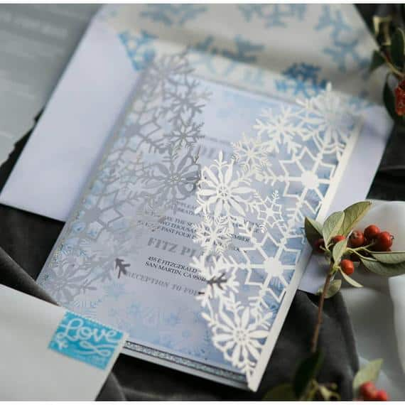 Winter Wonderland wedding Invitation with snowflakes