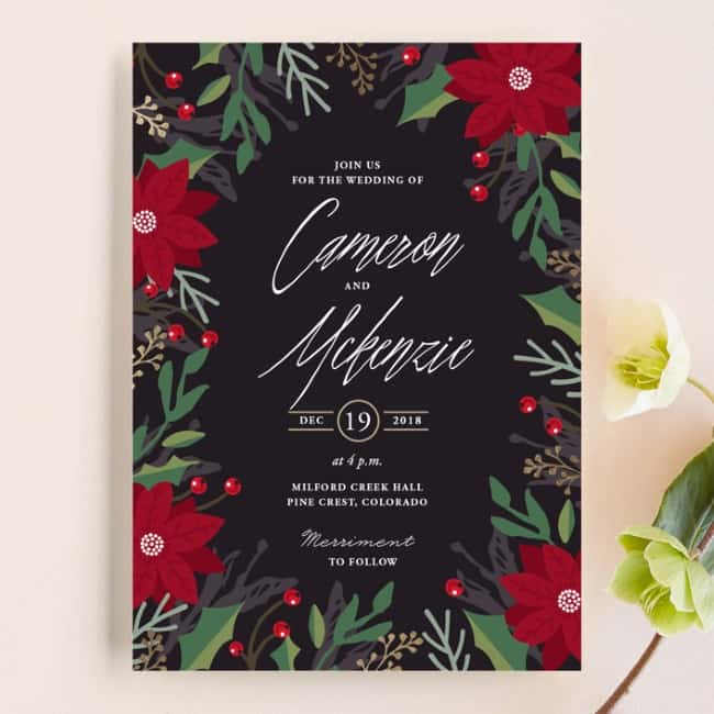 poinsettia garden wedding invitation by Minted