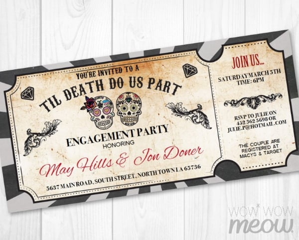 Til Death do us Part wedding ticket invite