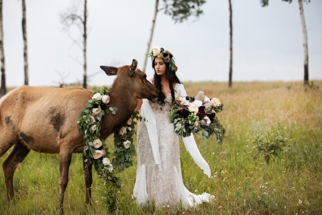 Wild Woodland Bridal Session with Elk feature