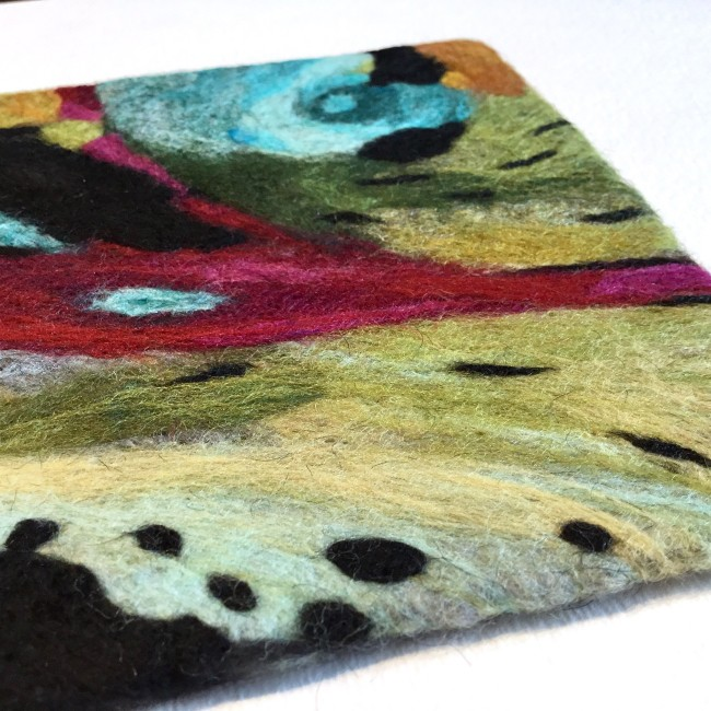 Contemporary felted wool painting for 7th anniversary gift