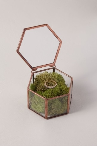 Glass Geometric Ring Box for wedding day