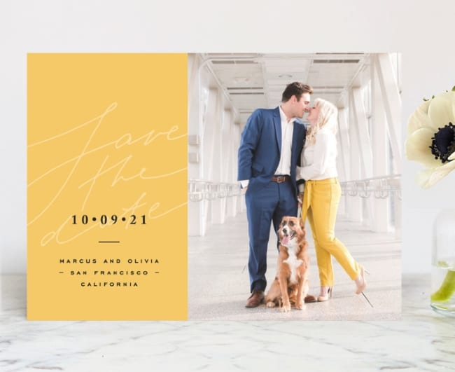 MInted bright mood save the date with photo