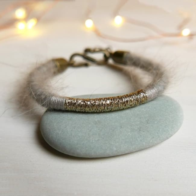 Wool bracelet Jewelry 7th Anniversary Gift for Her