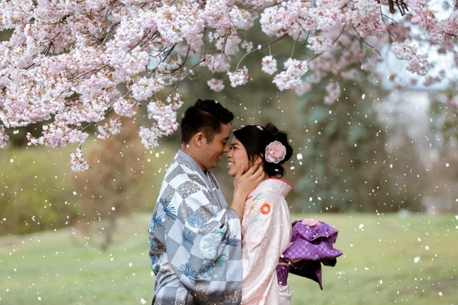 Cherry Blossom Engagement in Vancouver feature
