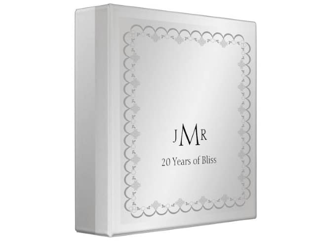 Platinum 20th Wedding Anniversary Binder gift idea
