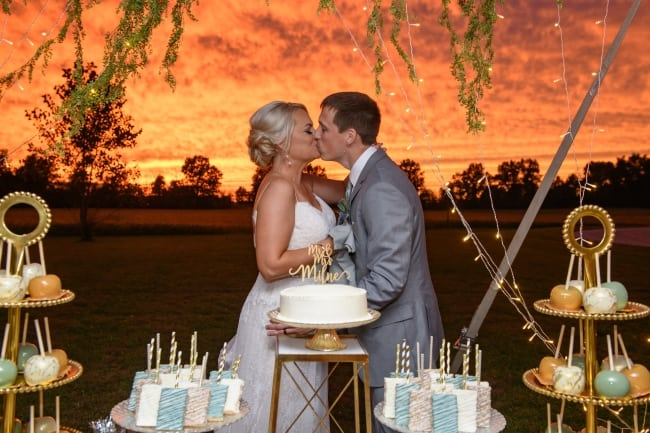 Backyard Country Wedding with Amazing Sunset feature