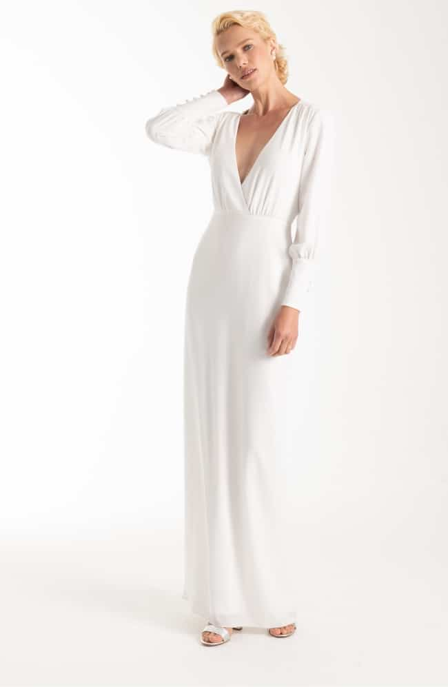 Long-sleeved Winter Wedding Dress with V-Neck