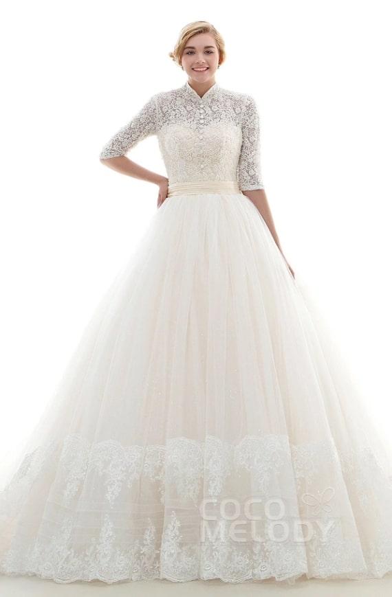 Princess-style Winter Wedding Dress with High Neck