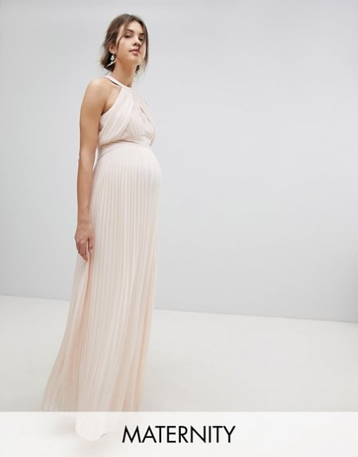 pleated maxi wedding dress