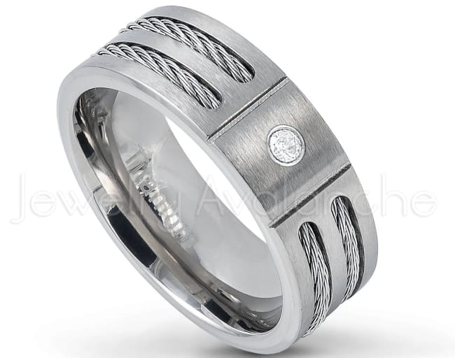 Commanding Grey Titanium Band with Cable Band