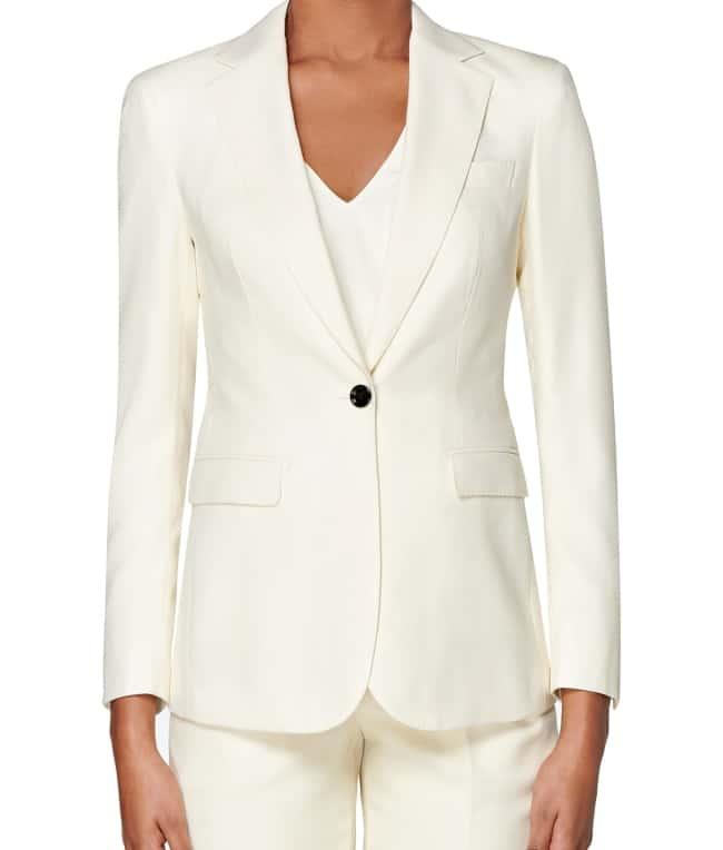 woman's pants suit cream color
